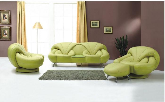 quelle couleur avec le marron dans salon et canapé vert anis design
