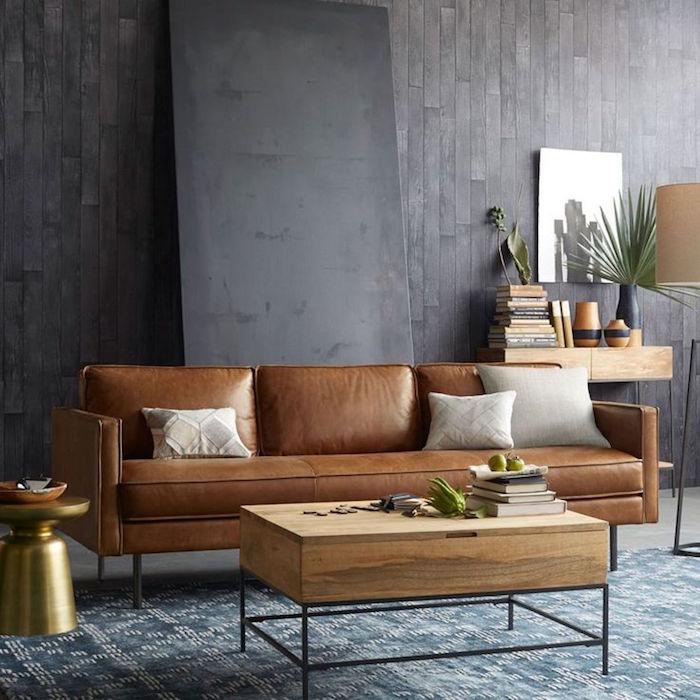 Deco Salon Avec Canape Marron Peinture Mur Salon Gris Fonc Quelle