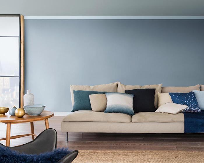 association de couleurs avec le gris perle et canapé beige creme taupe