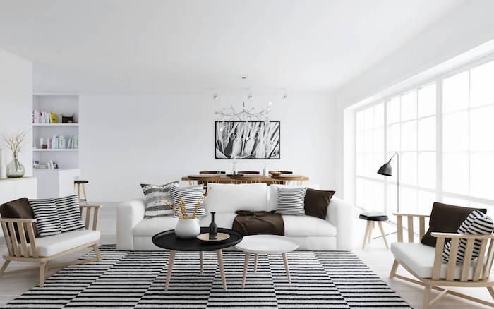 salon nordique et deco scandinave épurée blanc meubles suedois