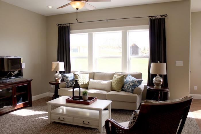 coloris taupe mur de salon et meubles marrons