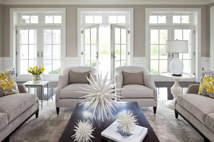 chambre beige et taupe couleur grege peinture mur salon