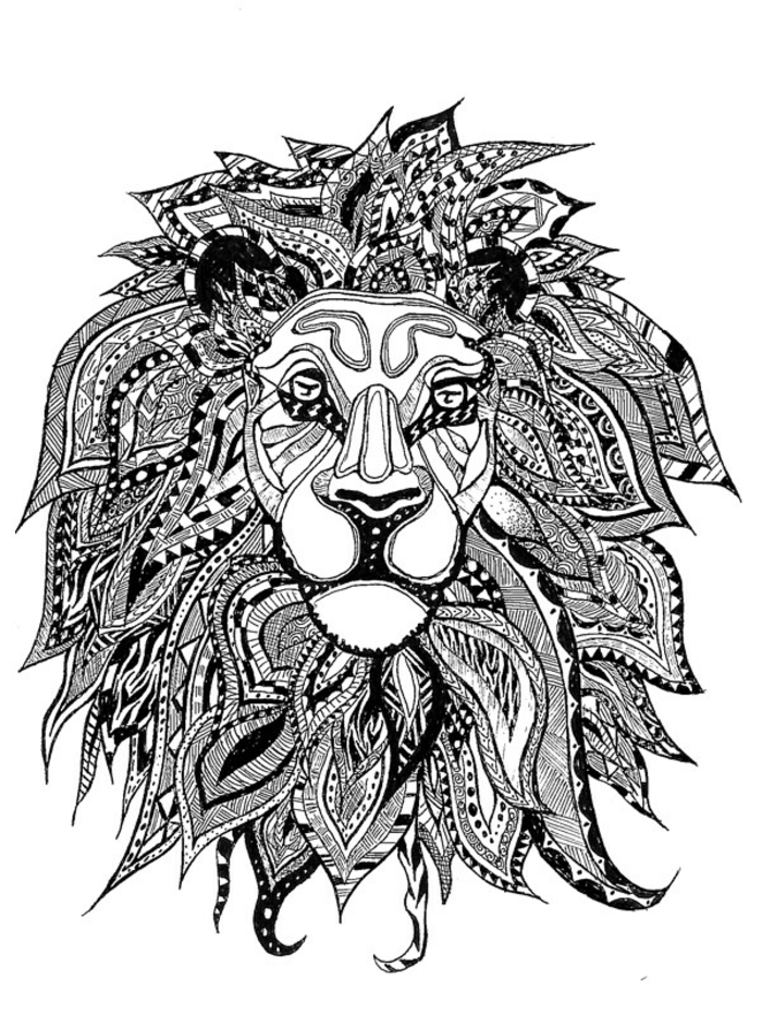 Un beau lion dessin tatouage tatoo tete de lion tatouage lion tatou graphique