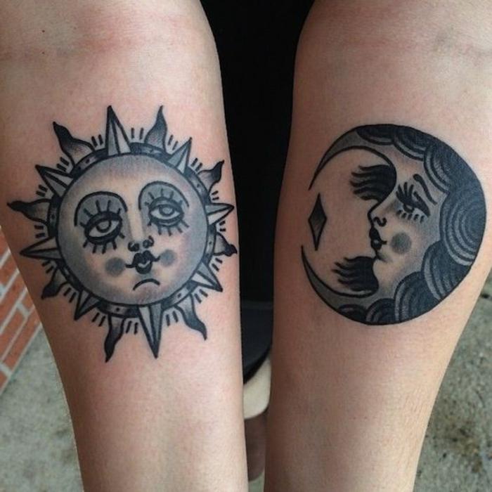 soleil tatouage, tatouage fantastique des deux corps célestes avec encre noire