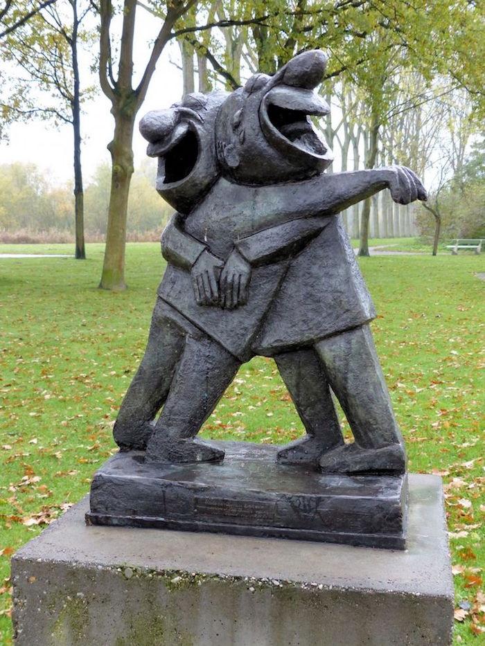 sculpture bronze contemporain Amis Rieurs artiste artist hollandais hollande Ton Smits