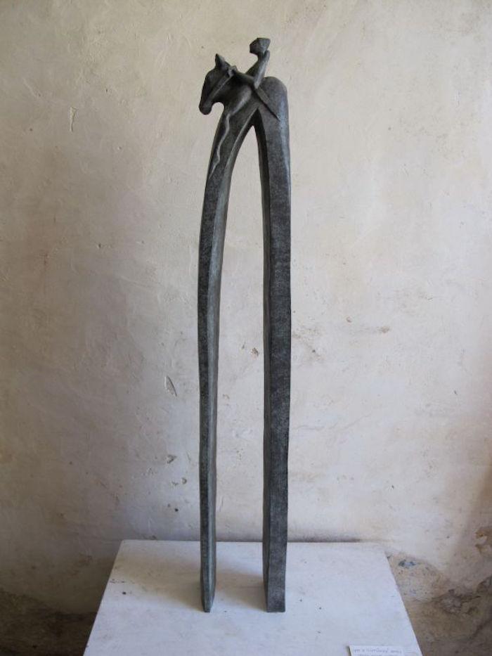 petite sculpture design deco rider cavalier cheval haute longue jambe