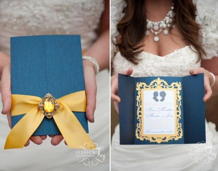 Beau faire part de mariage disney faire part mariage classe bleu et jaune dore