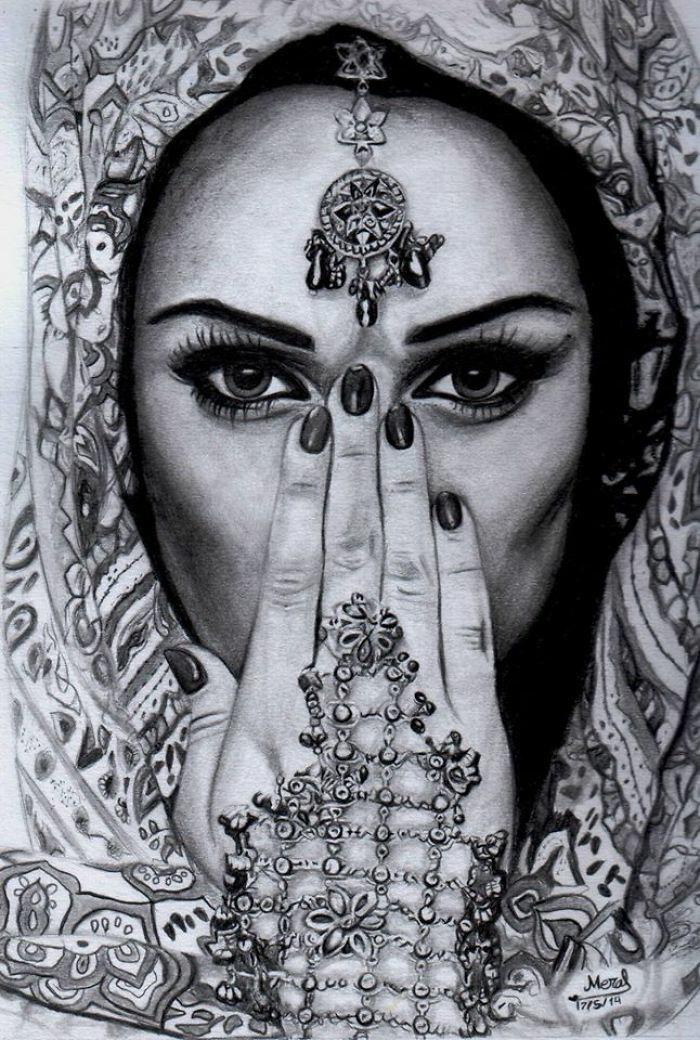 Comment dessiner un visage de fille jolie fille en dessin image inspiration indienne henne