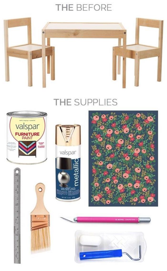 comment customiser un meuble pour lui donner un aspect de fraîcheur, table d'enfant personnalisée avec du film adhésif à motif floral