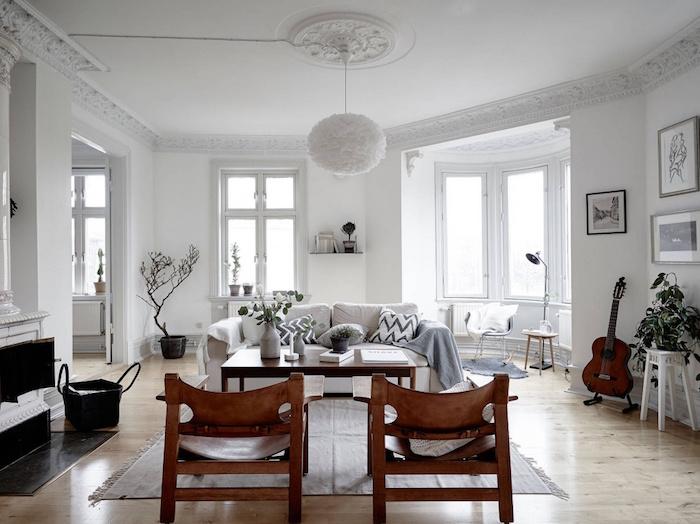 grand séjour deco esprit scandinave style nordique murs blancs meubles nordiques