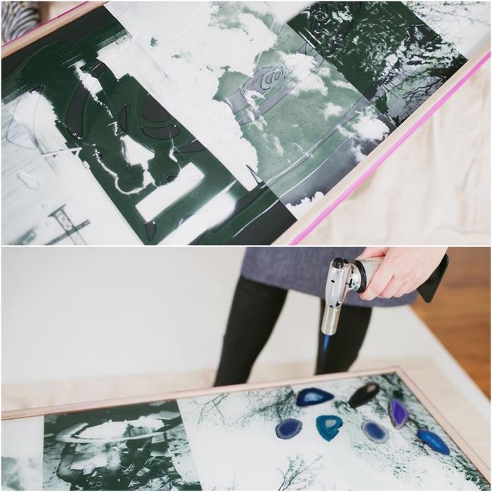 customiser un meuble avec un collage photo, une table basse déco personnalisée avec des photo