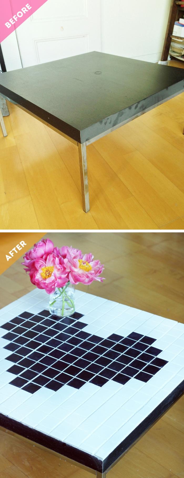 idée originale pour un relooking meuble à effet mozaiqie, table basse relooké à motif coeur