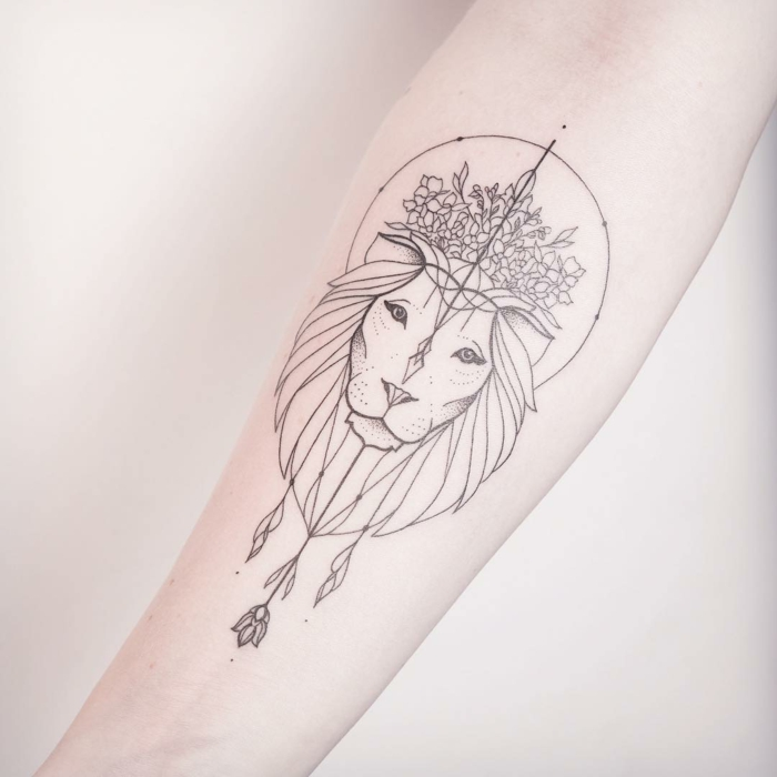 Tatouage femme lion tribal tattoo cool tatouage tete de lion tribal magnifique tatouage