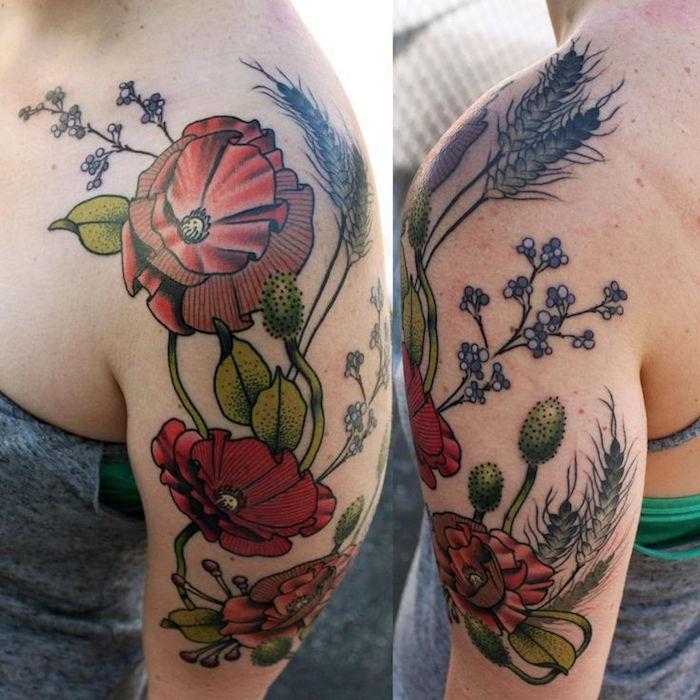 tatouage fleurs épaule femme tattoo fleur couleurs bras