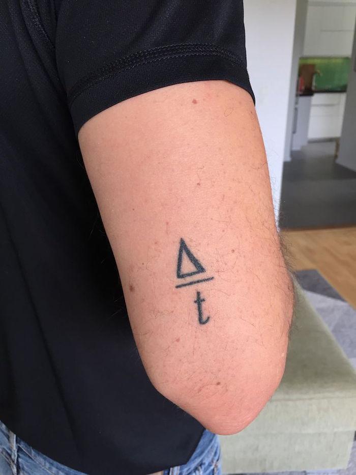 tatouage homme bras discret formule maths sur le coude