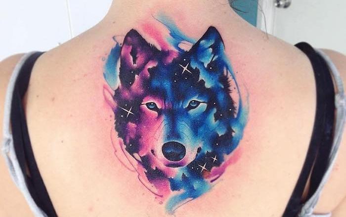 1001 mod les de tatouage loup pour femmes et hommes - Tatouage rose bleu ...
