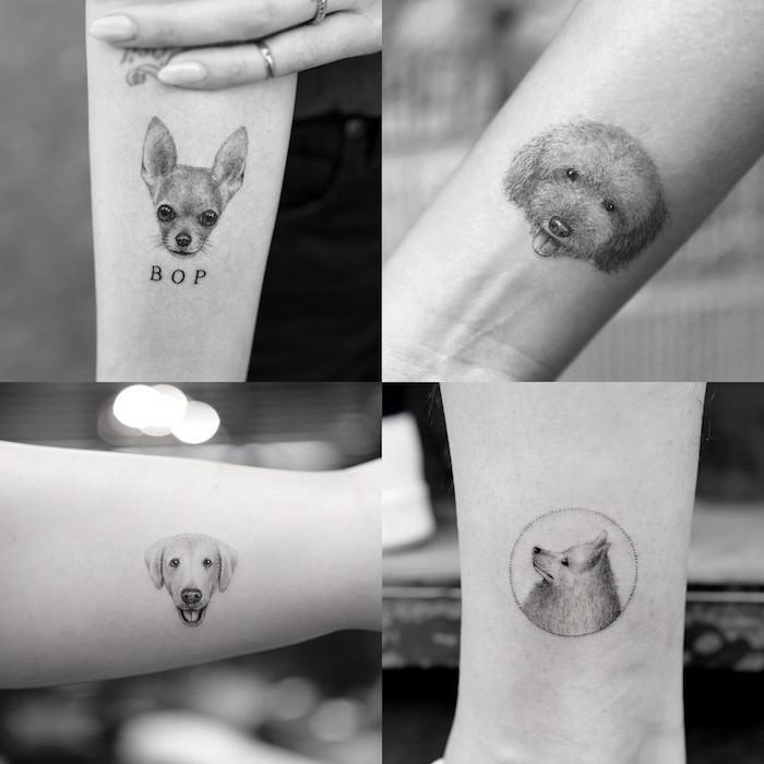 petit tatouage femme, ongles longs à vernis nude, art corporel à design animal de compagnie, dessin en encre motifs chien,