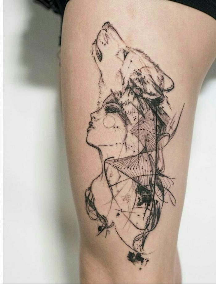 signification tatouage, dessin en encre sur jambe féminine, transformation femme loup en dessin