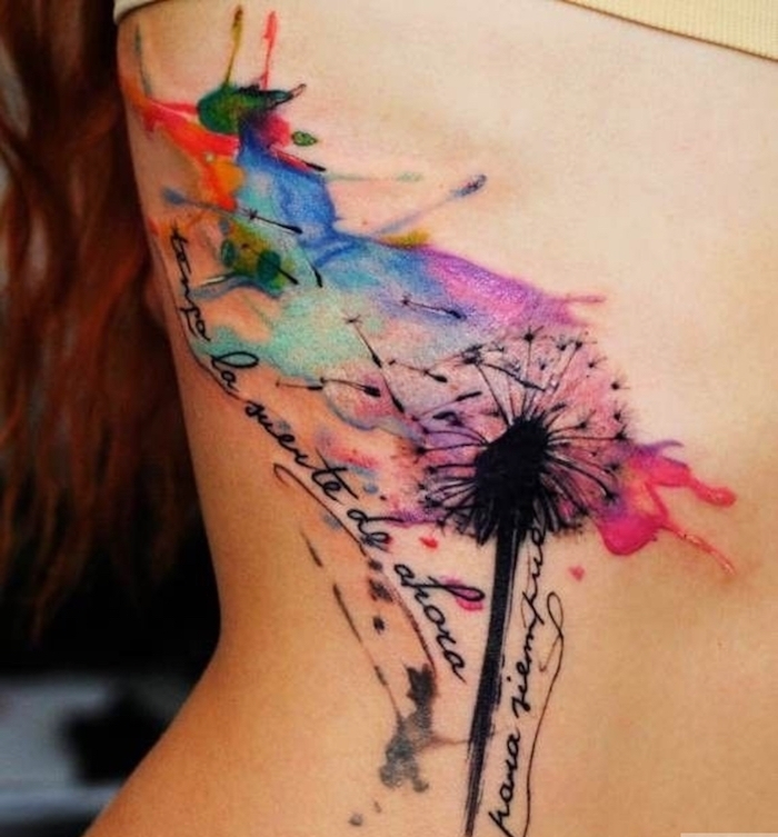 abstract dandelion style flower tattoo with watercolor spots