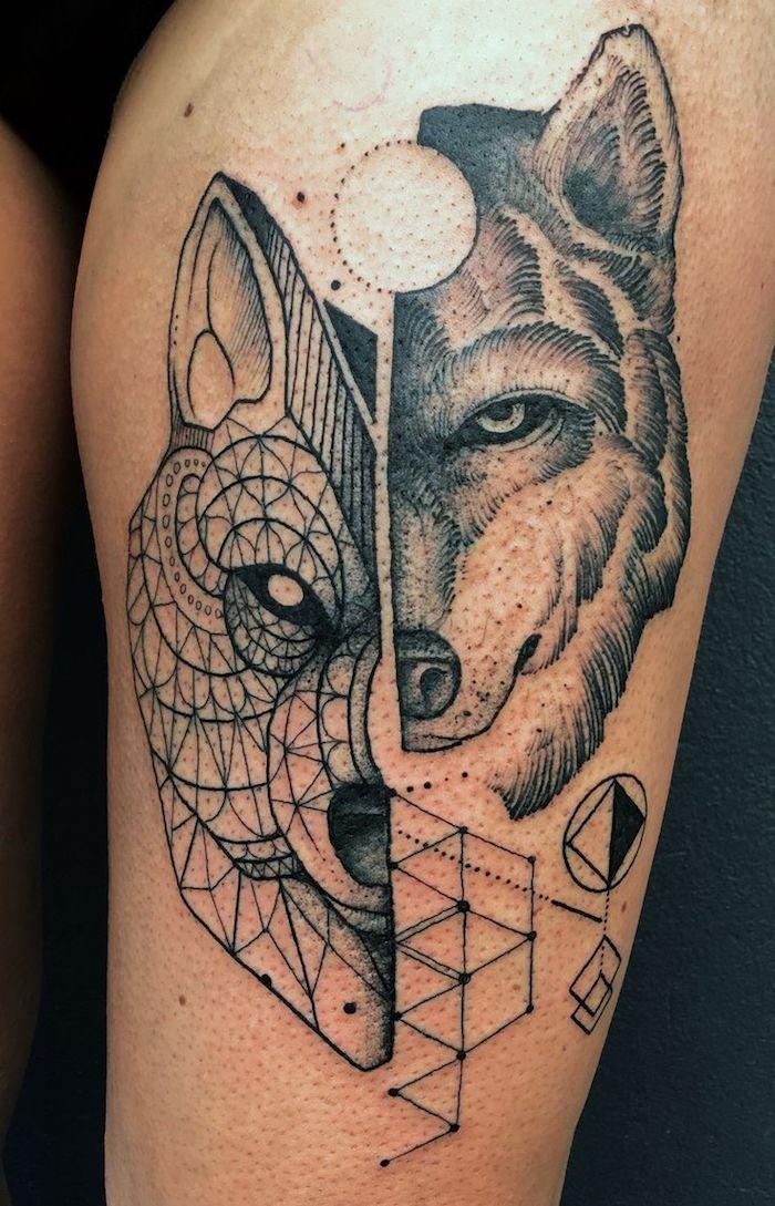 idée tatouage, art corporel pour femme à design animal, dessin en encre tête de loup