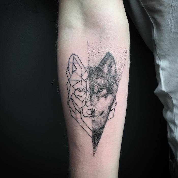 signification tatouage, art corporel à motifs animaux, dessin loup aux  lignes géométriques