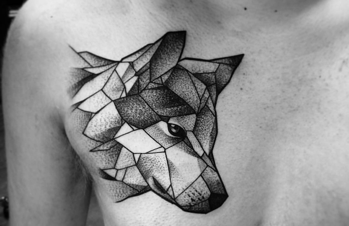 tatouage loup geometrique, dessin sur la peau à motifs animaux, idée tatouage pour homme