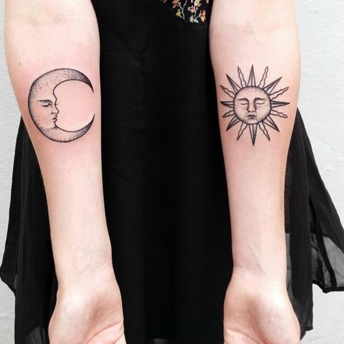 tatouage lune, tatouages aux bras lune et soleil, tatouages matching, tatouage avant-bras