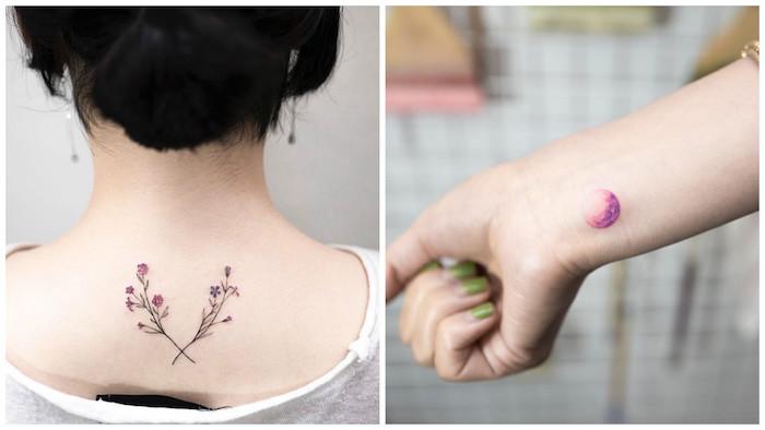 quel tatouage choisir pour femme, amour vers la nature, dessin en couleurs sur la peau, tatouage fleur et lune