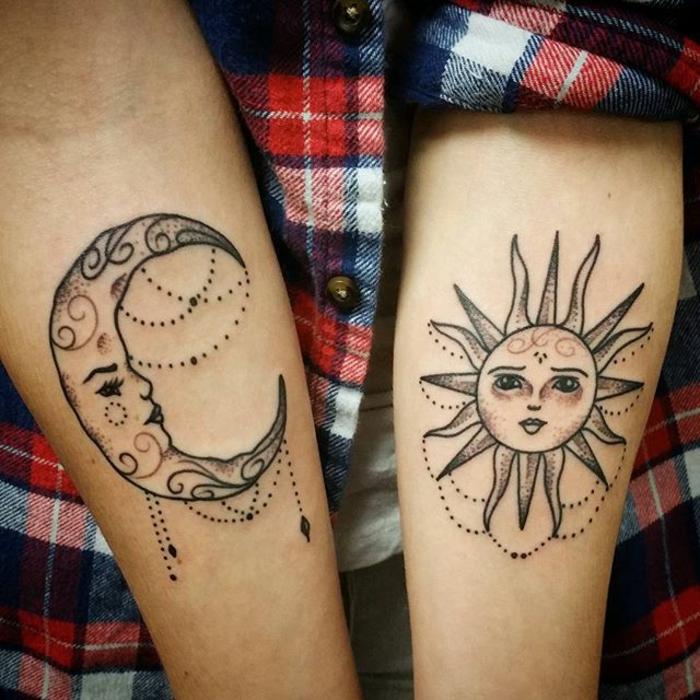 tatouage soleil et lune, tatouage avant-bras, les images de la lune et du soleil