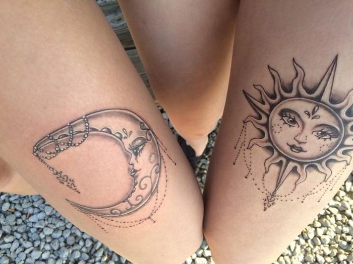 tatouage soleil et lune, disque lunaire et solaire décorés de pendentifs tatoués sur la peau