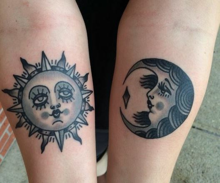 tatouage soleil, tattoos noirs soleil et lune comme visages humains
