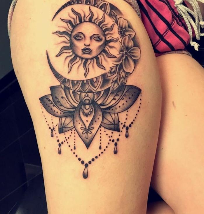 tatouage soleil, tatouage femme cuisse, le soleil et la lune personnifiés tatoués à la cuisse