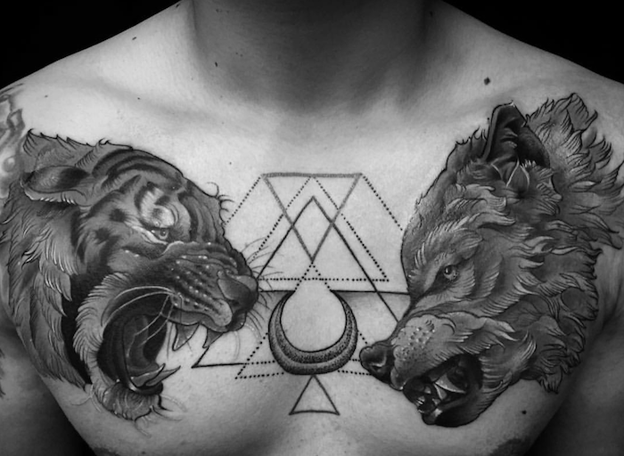 tatouage tete de loup, dessin sur le corps symbolique avec tête de tigre et de loup