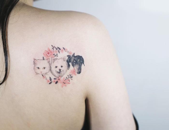 amour pour les animaux, dessin en couleurs sur le peau, art corporel pour femme, tatouage design chien et chat