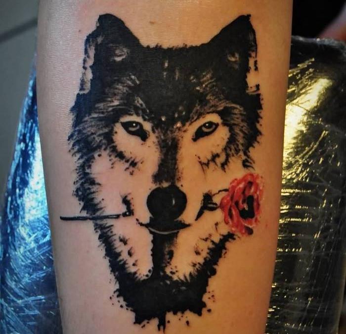 symbole tatouage, dessin en encre avec loup et rose rouge, idée tattoo pour homme et femme