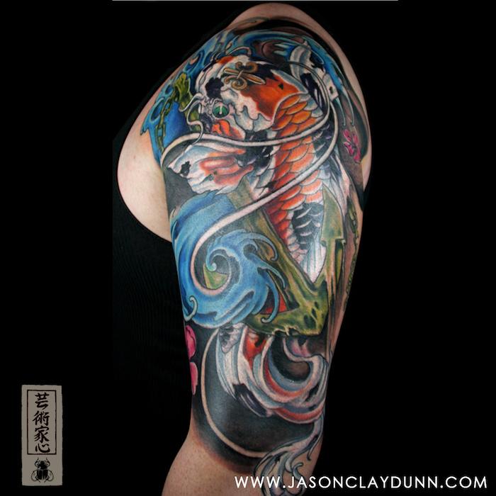 tatouage carpe koi tattoo épaule et manche tatouages japonais homme