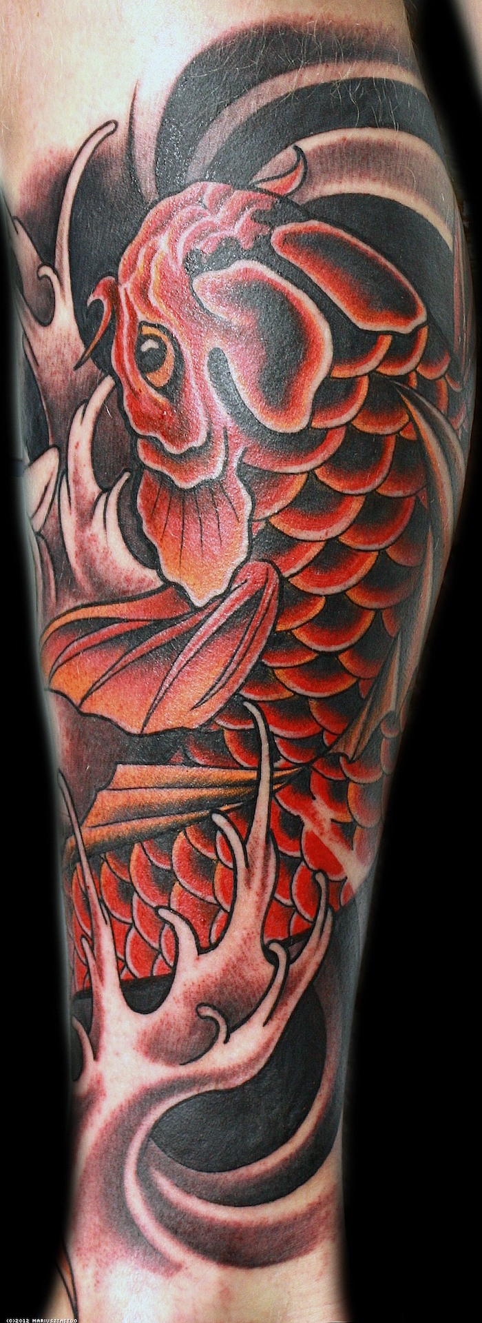 tattoo mollet entier poisson japon tatouage carpe koi