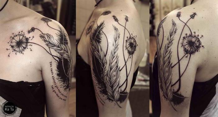 tatouage épaule et bras femme de pissenlits et plantes