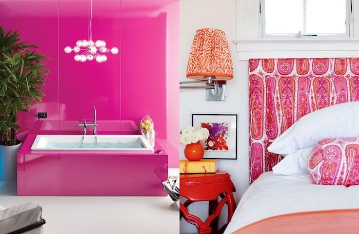 deco chambre, tête de lit à motifs ethniques en rose et blanc, vase orange avec fleurs blanches