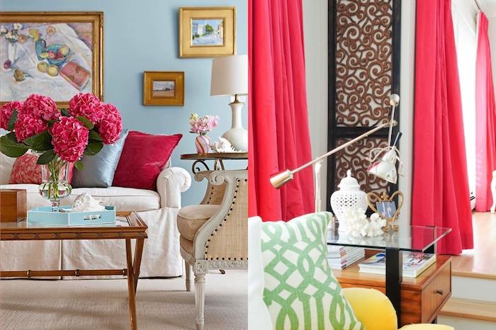 couleur framboise, cadre photo en bois peinte en or, mur peint en bleu claire, coussins décoratifs en rouge et bleu
