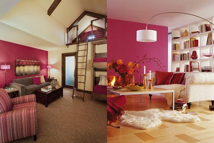 deco chambre, aménagement studio sous pente, salon aux murs framboise et plafond blanc, table basse en jaune et blanc