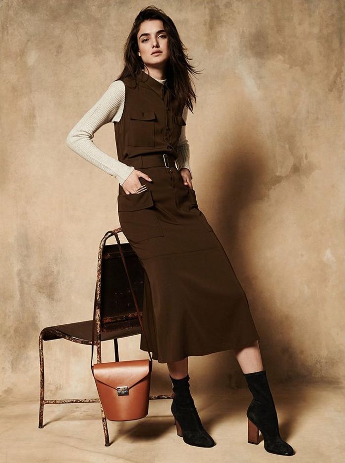 Idée robe chemisier saharienne femme robe chemise noire ou beige robe saharienne pour l automne tenue de jour