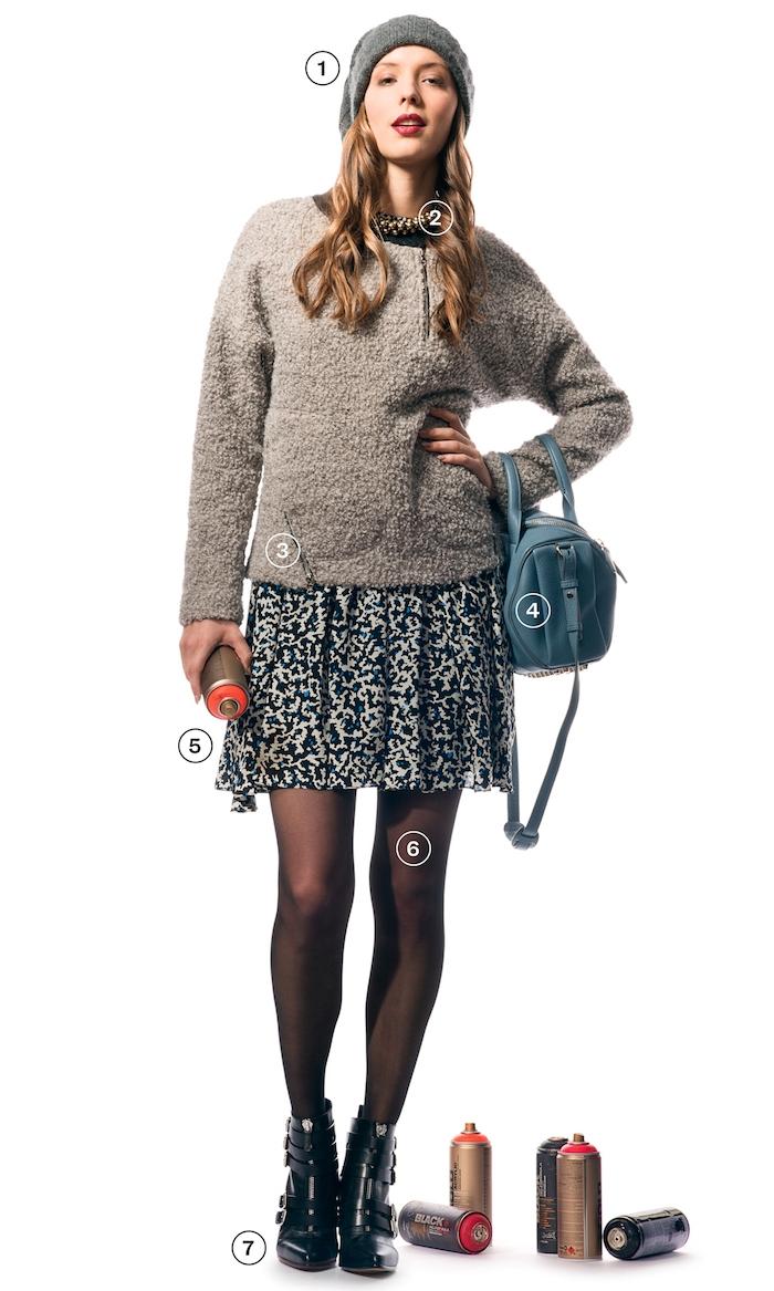 bottines femme, conseil comment assortir ses vêtements, jupe patineuse en blanc et noir, bonnet en crochet gris