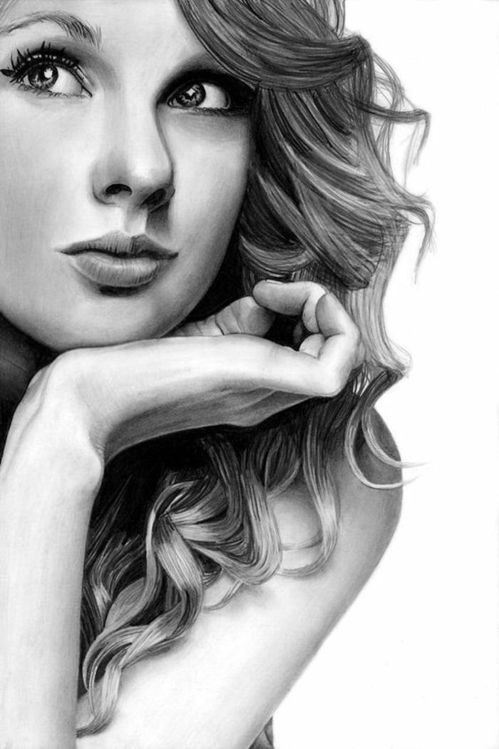 Oeuvre d art dessin à imprimer de fille dessin d une petite fille Taylor Swift