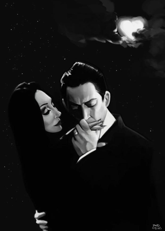 Caractère de la famille adams morticia et gomez addams amour image noir et blanc