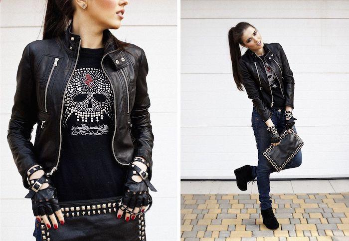 veste simili cuir femme, coiffure rock sur cheveux longs et noirs en queue de cheval, piercing oreille pour femme