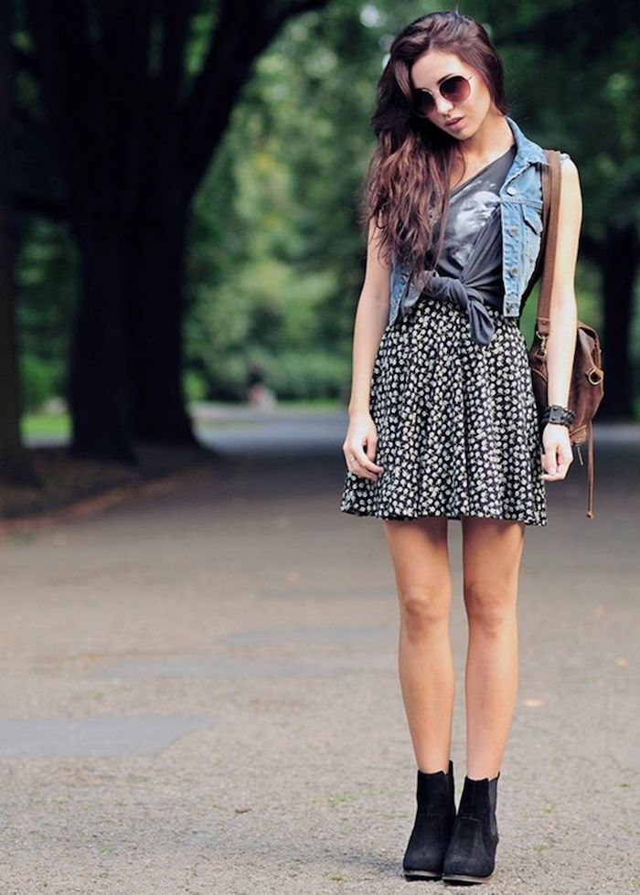 hipster chic outfit style summer mode été robe à fleurs