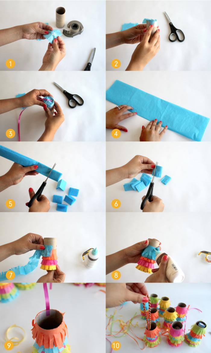 un tuto étape par étape pour réaliser un mini-pinata en rouleau papier toilette à remplir avec des bonbons et petits jouets