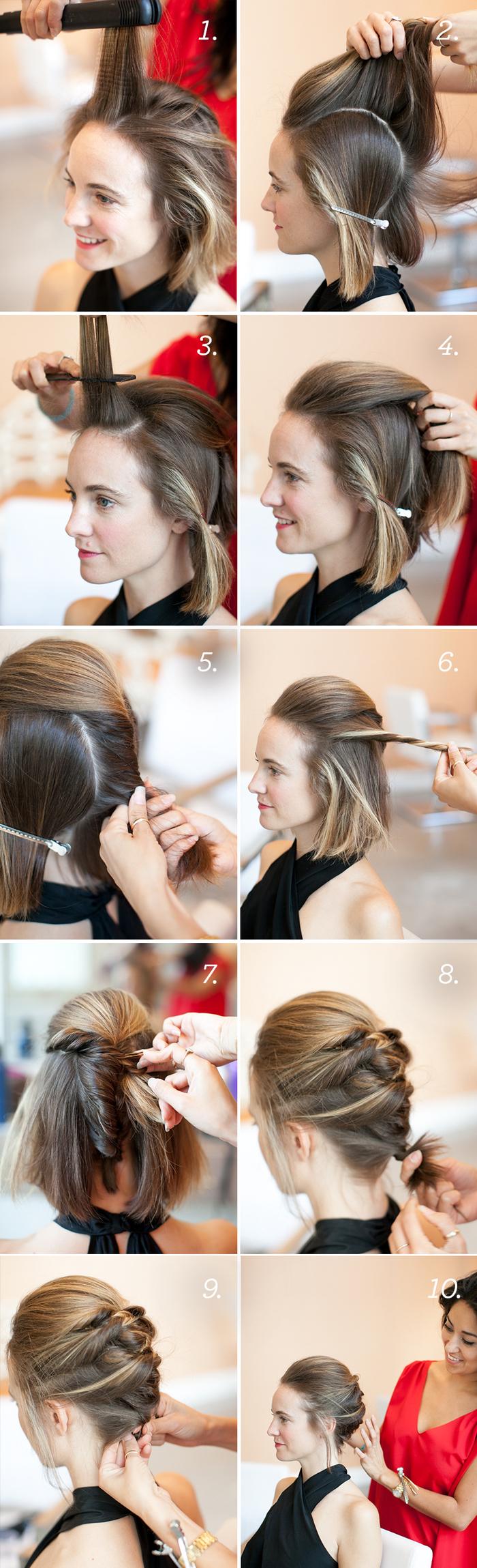 un chignon facile à faire réalisé sur un carré court qui met en avant les mèches blondes de devant