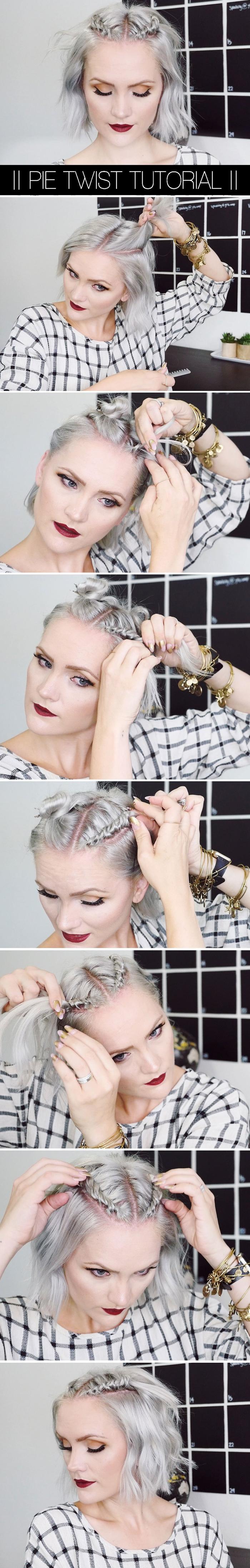 une coiffure facile et rapide à réaliser sur un carré court ou mi-long avec des tresses symétriques sur le devant